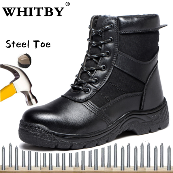 Brand WHITBY Unisex Fashion Safety Shoes Steel Toe Shoes New Warm Cotton Shoes Safety Shoes Anti-smashing Stab-resistant Work Shoes