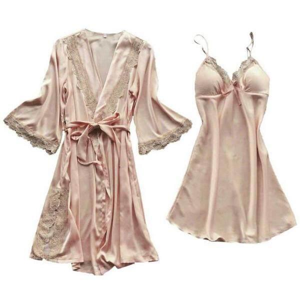 Nơi bán 2 Cái/bộ Rắn Cô Dâu Thanh Lịch Ren Eo Tie Wedding Loose Nhẹ Dài Mềm Mượt Đêm Bath Ladies Phụ Nữ Robe