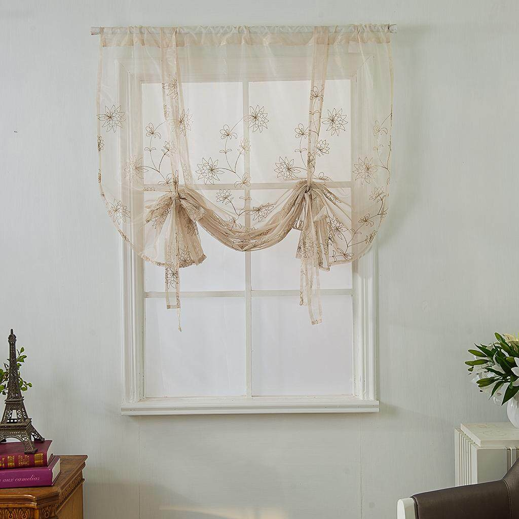 BolehDeals Embroidered Thermal Insulated Blackout Tie Up Shade Rod Pocket Curtain 46x63