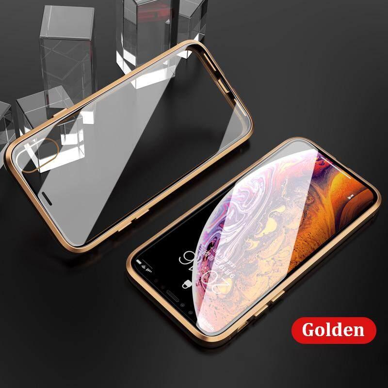 Image 5 for สำหรับ iPhone X/XS MAX 360 Magnetico กระจกนิรภัยเทมเปอร์โปร่งแสงกรอบกันกระแทกบัมเปอร์โลหะ