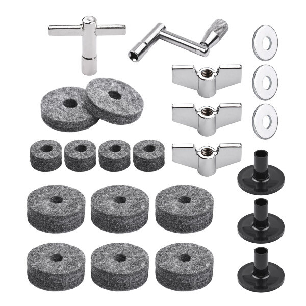 23pcs Cymbal Replacement Accessories Drum Parts with Cymbal Stand Felts Drum Cymbal Felt Pads Include Wing Nuts Washers Cymbal Sleeves and Drum Key Malaysia