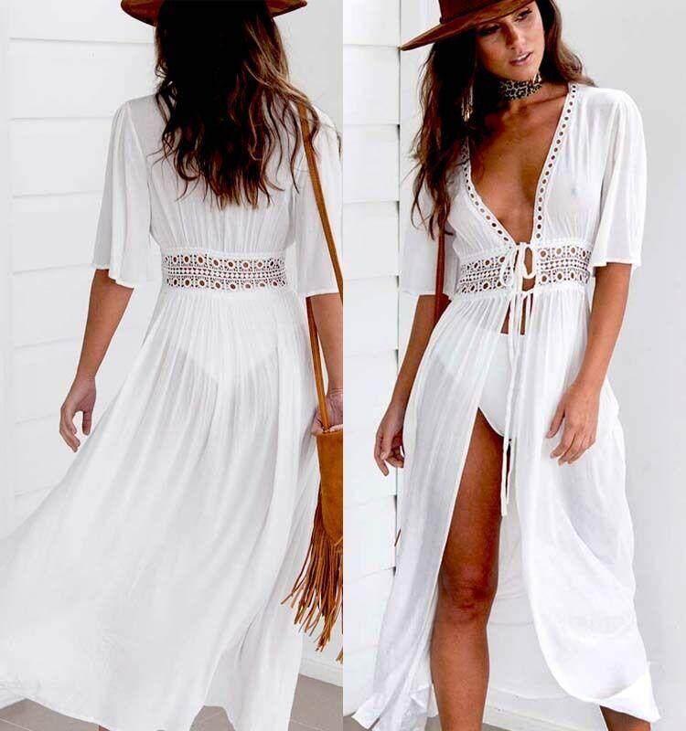 832b43e28e Sexy Ladies Women Solid White Bikini Cover up Beach Dress Swimwear Chiffon  Beachwear Bathing Suit Summer