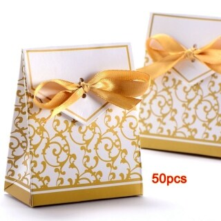 50x Box Dragee Accessory Wedding Decoration Table Baptism Party Fleur Dore thumbnail