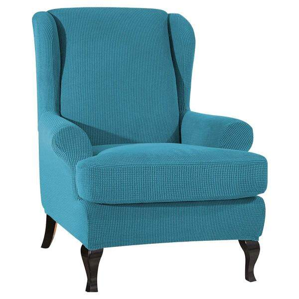 1Pcs King Back Chair Elastic Armchair Wingback Wing Sofa Back Chair Cover Stretch Protector SlipCover Protector