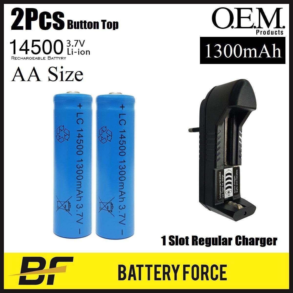 Combo 3.7v Aa Rechargeable Li-Ion Battery 14500 1300mah Lithium W 1 Slot Charger By Battery-Force.