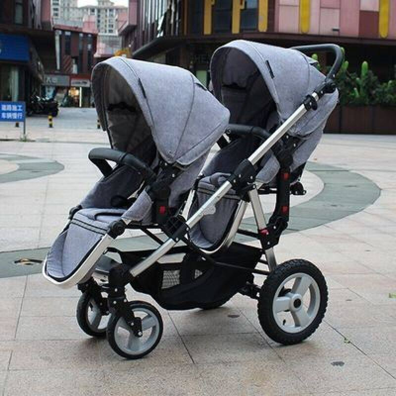 Brand twins baby stroller Multifunctional twin baby stroller light can sit flat double trolley two-way folding baby car Singapore