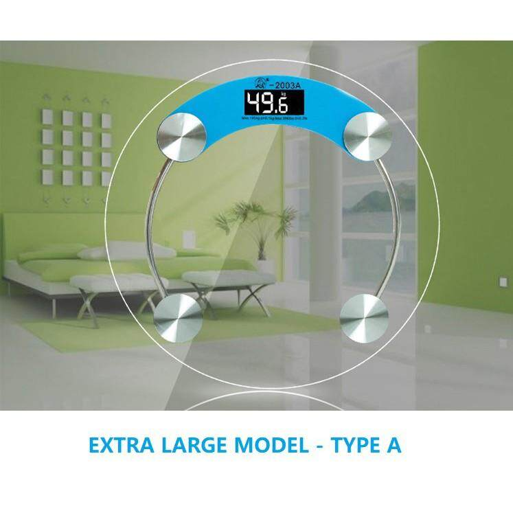 Weighing Scale - E-Sonic Digital Extra Large LCD Slim Crystal Tempered Glass Body Scale - [A-EXTRALARGE(WHITE)]