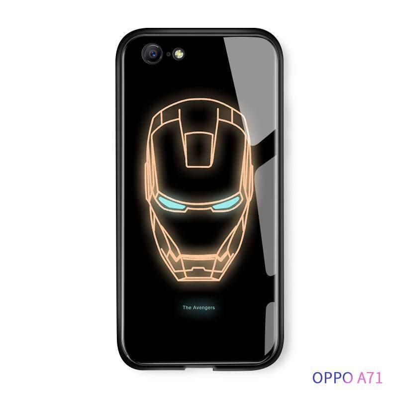Hontinga OPPO A71 Case Bercahaya Avengers Marvel Superhero Captain America Ironman Telepon Case S Menyala Dalam Gelap Kaca Antigores Kembali Casing Penutup