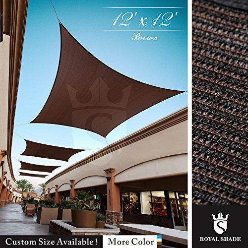 Royal Shade 12 X 12 Brown Square Sun Shade Sail Canopy, 95% Uv Blockage, Heavy Duty 200gsm, Custom Made Size By Cross Border.