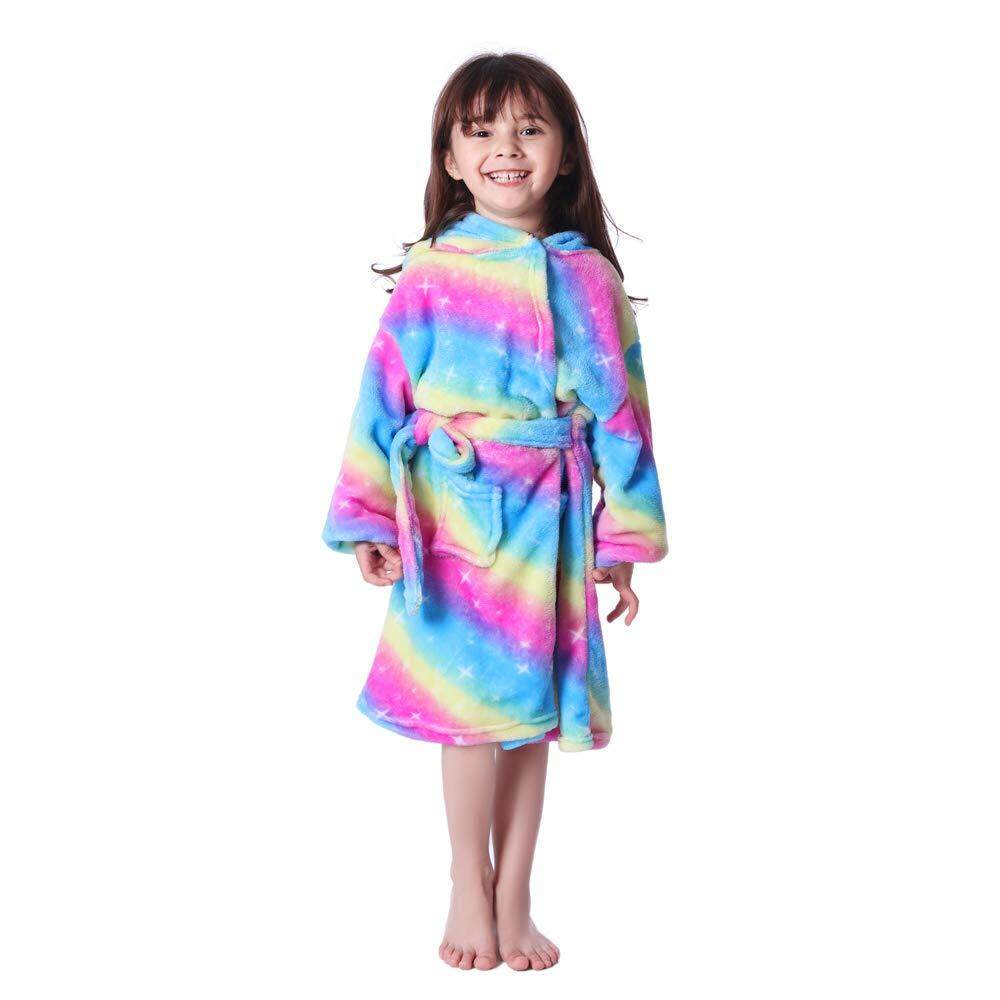 Kids Boys Girls Flannel Bathrobe Hooded Towel Pajamas Comfortable Sleepwear Tops
