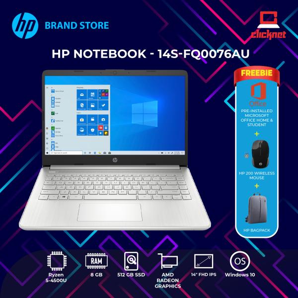 HP 14S-FQ0076AU (RYZEN5-4500U, 8GB, 512GB SSD, 14FHD, W10, MS OFFICE 2019 Preinstalled, Silver) Malaysia