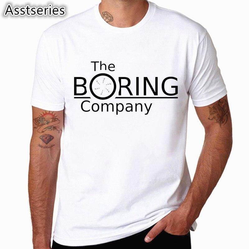 ef47e30acc1a The Boring Company Letters Printed Elon Musk Men's T-shirt Short Sleeve  Casual T-
