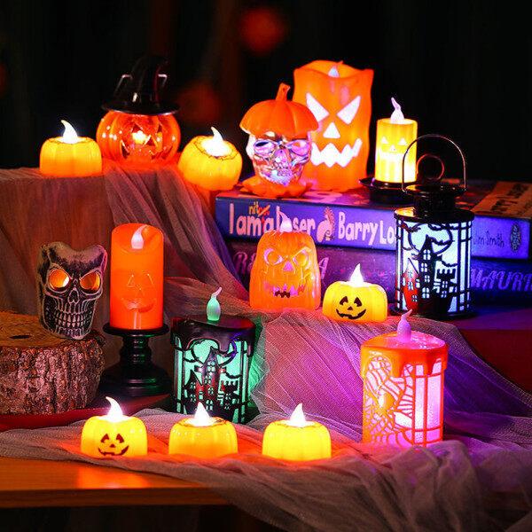 Bảng giá Đèn Lồng Nến Điện Tử Hình Đầu Lâu Bí Ngô Đèn LED Trang Trí Halloween Không Khí Đầy Màu Sắc