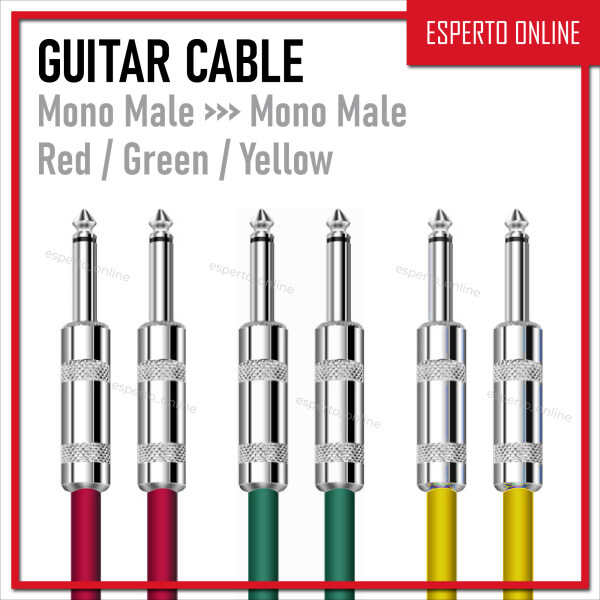 Electric Guitar Multicolor Cable Wire Cord 6.35mm Mono TS male-to-male for Guitar Accessories Musical Instruments [3M] Malaysia