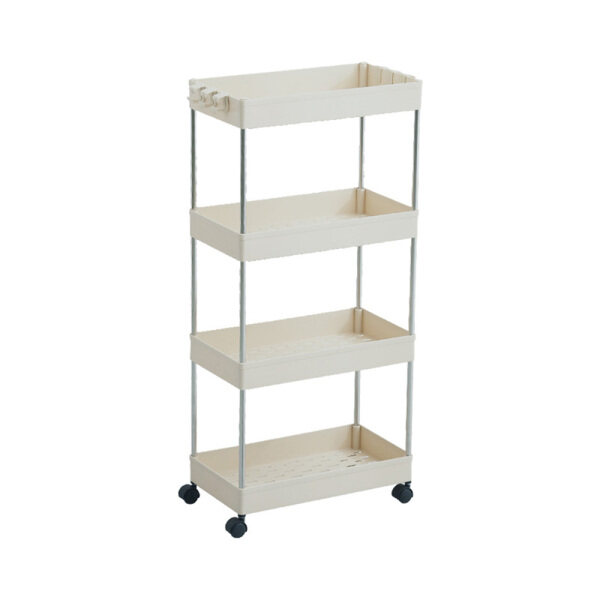 Melody Home 4 Layer Gap Storage Rack Kitchen Slim Slide Tower Movable Assemble Plastic Bathroom Shelf Wheels Space Saving Organizer (Shipping within 24 hours)