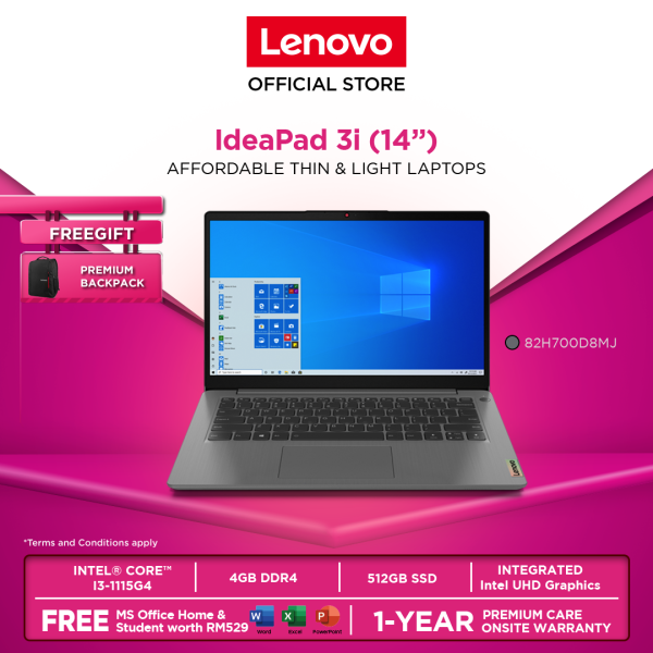 Lenovo IdeaPad 3 14ITL6 82H700D7MJ | 82H700D8MJ | 82H700D9MJ14|i3-1115G4|4GB|512GBSSD|W10H|OFF H&S|1YRPREM|BACKPACK Malaysia