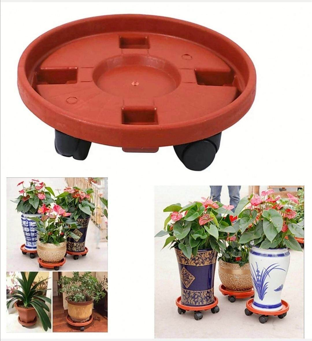 360 Degree Rotatable Resin Flower Potted Plant Caddy Rollers Stand Wheels for Patio Garden Yard Lawn