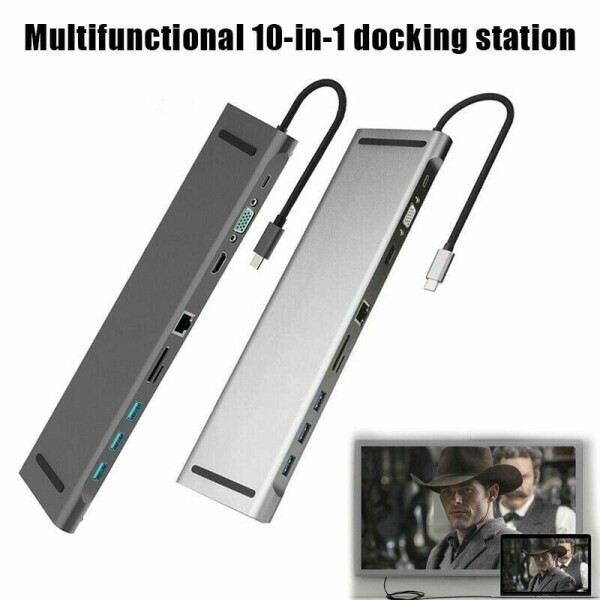 10in1 Multiport connector Adapter HUB 4K USB Type-C To USB 3.0 TF HDMI VGA RJ45 Docking Station For MacBook