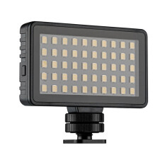TELESIN Mini LED Video Light Photography Lamp 50pcs LEDs 6500K 3 Levels Brightness Built-in Rechargeable Battery with 4pcs Color Filters Cold Shoe Mount Adapter for Vlog Video Recording
