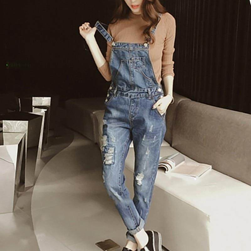 Spirited Denim Jumpsuit Overall Women Jeans Woman Skinny Plus Size Loose Womens Jeans Overalls Women Elastic Waist Jumpsuit Female Jeans Women's Clothing