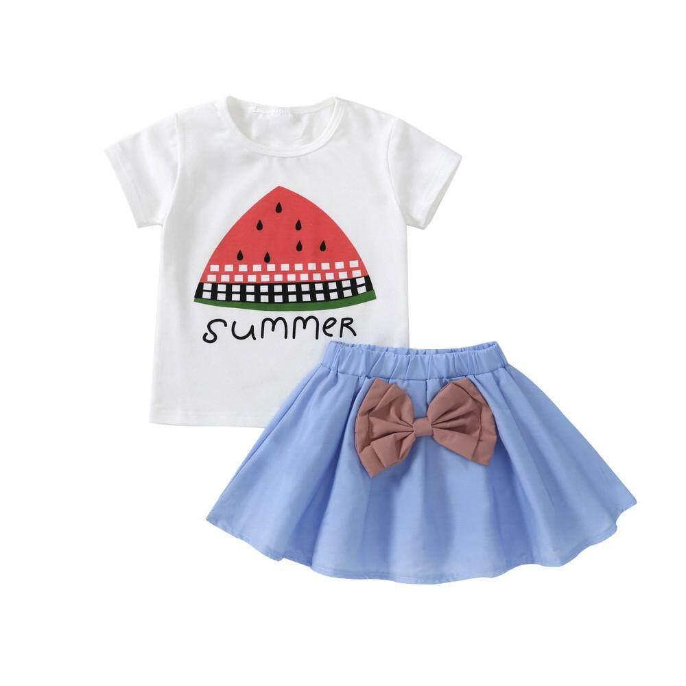 155022e1d97a 2pcs Toddler Baby Kids Girls Clothes Watermelon Tops T-shirt+Skirt Set  Outfits