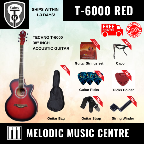 "TECHNO T-6000 38"" T38C Acoustic Guitar Cutaway RED BURST BUNDLE READY STOCK (T-38C / T38C / T6000) Malaysia"