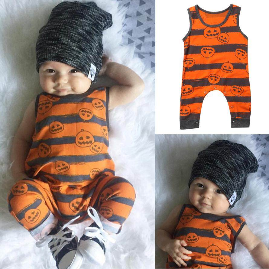 Halloween Toddler Baby Boy Costume Top Romper Dress Clothes Outfit-Orange