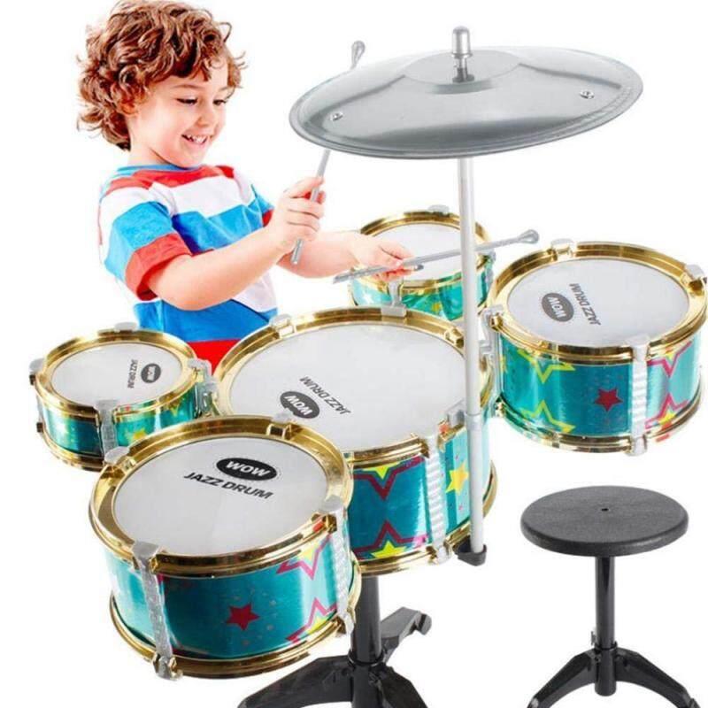 GoodGreat Lớn 5 Trống dành cho Trẻ Em, 5 Trống + 1Cy Kiêm La Bàn, dụng Cụ âm nhạc Đồ Chơi Mô Phỏng Jazz Trống Nhạc Cụ Bộ
