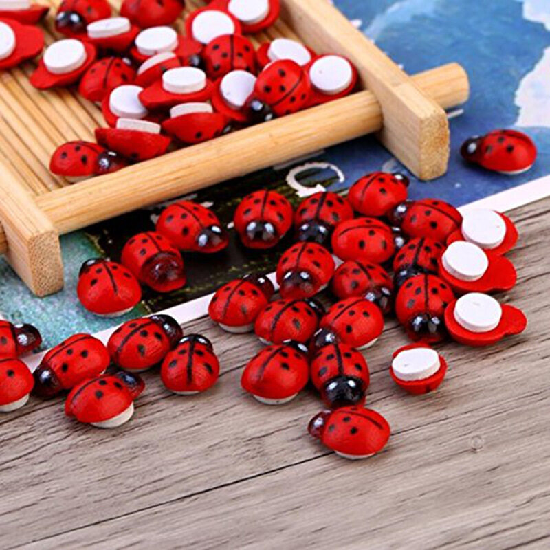 TTLIFE 100pcs/lot Mini Cabochon Ladybug Fairy Garden Miniatures Garden Ornament Decoration Micro Landscape Bonsai Figurine Resin Crafts