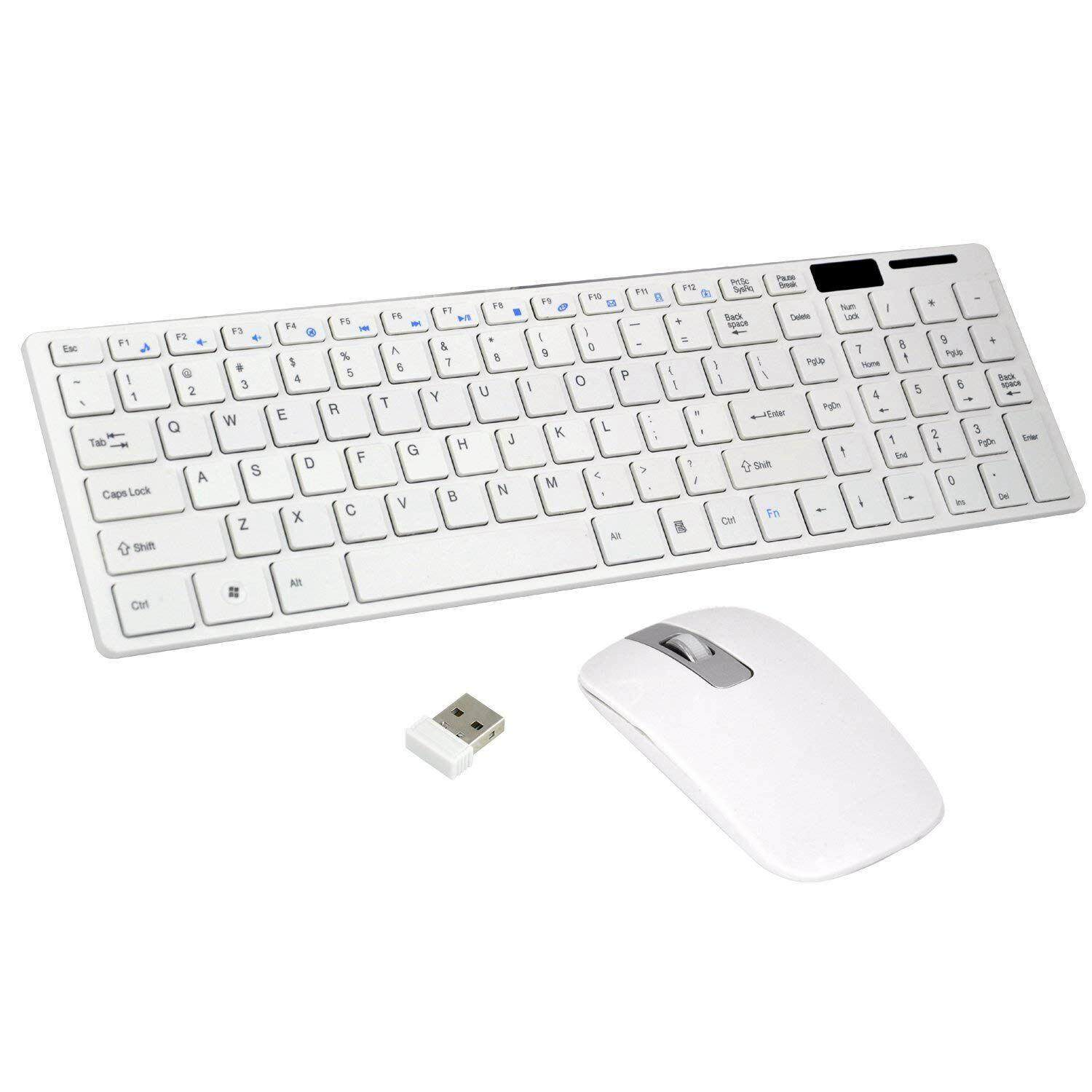 Wireless Slim White Keyboard + Wireless Optical Mouse Set for PC and Laptop Malaysia