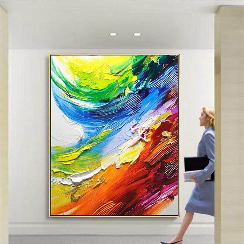 Hand Painted Oil Painting Abstract Color Pattern Painting Modern Fashion Office Home Decoration