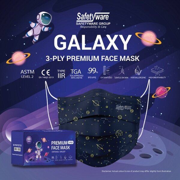 [New Design] SAFETYWARE GALAXY 3 Ply Premium Face Mask High Breathability BFE ≥ 99% PFE ≥ 99% ASTM II EN Type-IIR