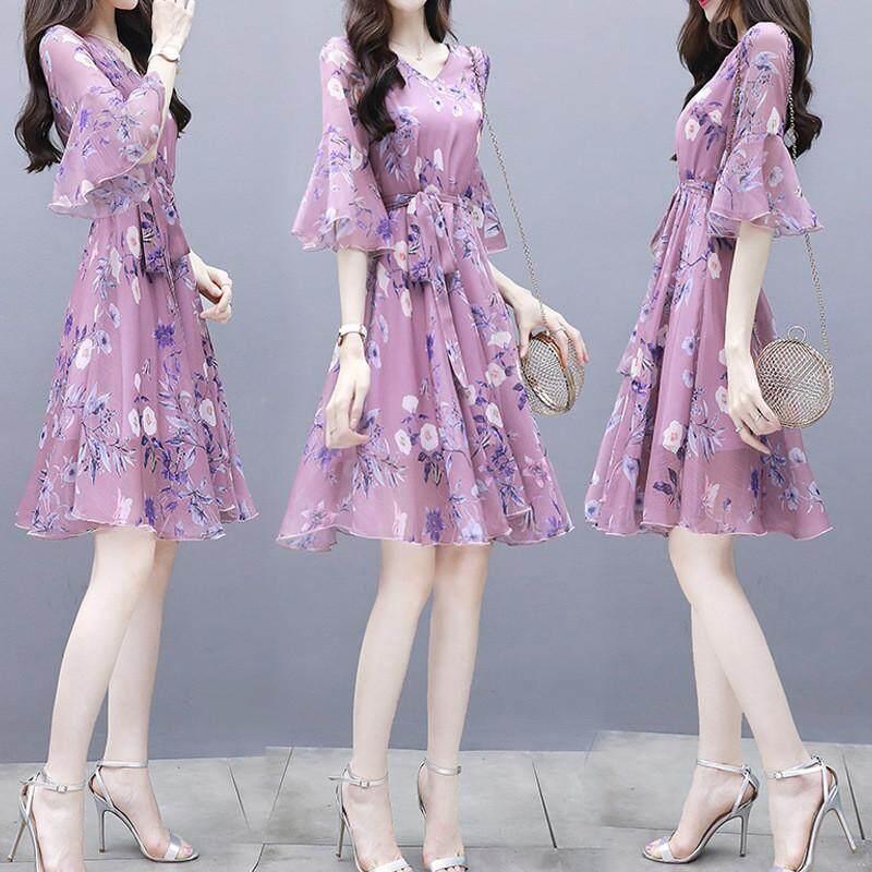 Summer skirt print chiffon dress for women