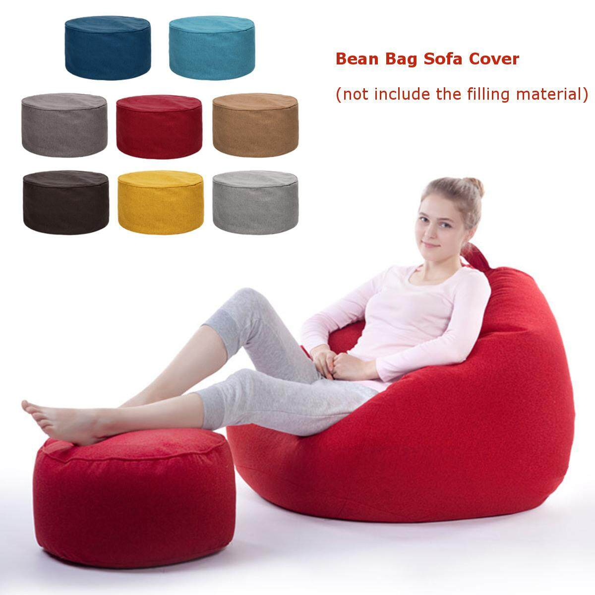 Latest Solid Color Cotton Soft Bean Bags Sofa Lounger Cover Washable Without Filler