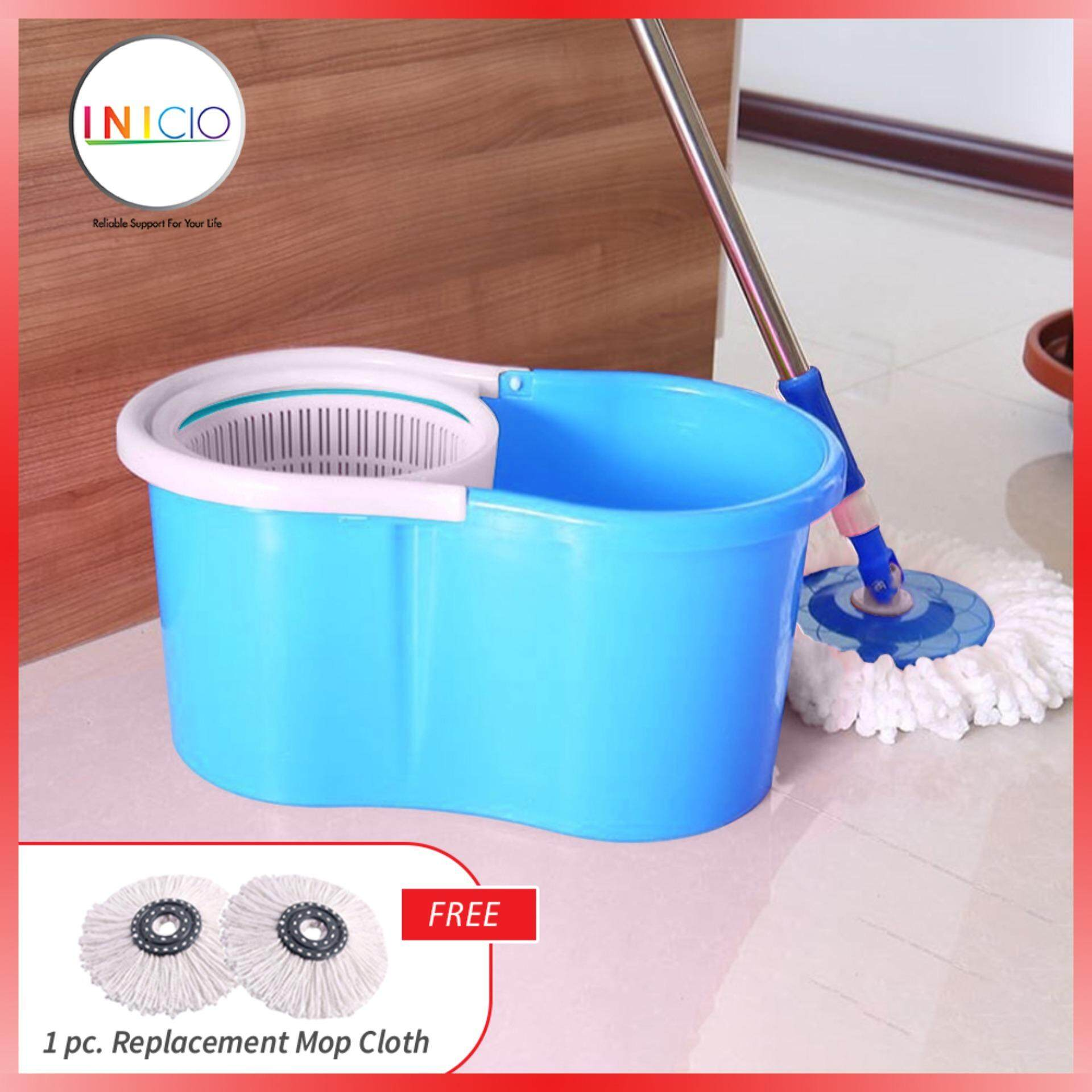 Inicio : Portable Magic Spin Mop Cleaner (mop Spinner / Mop Lantai) With 1 Mop Heads + Free 1 Pc. Replacement Mop Cloth By Inicio.