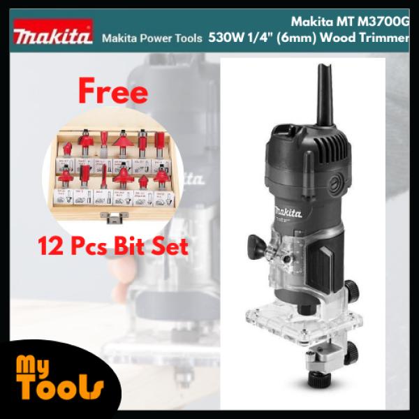 Makita MT M3700G 530W 1/4 (6mm) Wood Trimmer + 12PCS ROUTER BIT SET + 12 Month Makita Original Warranty
