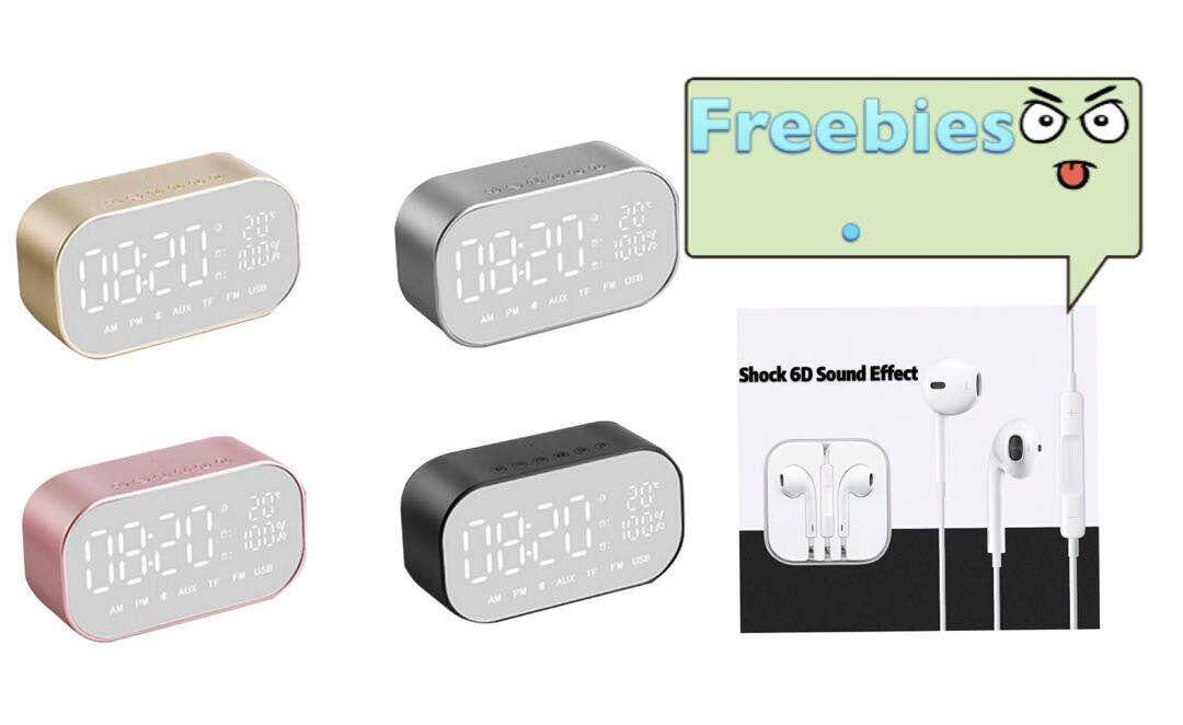 S2 Portable Wireless Bluetooth Speaker Music Sound Box LED Time Alarm Clock