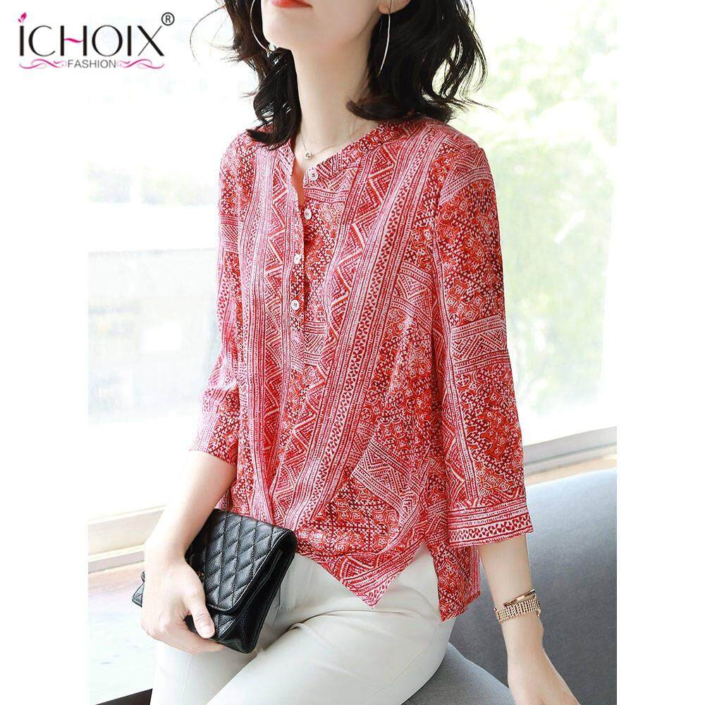 ce764710558 ICHOIX Floral Chiffon Summer 2019 New Korean Fashion Plus-size women's Loose -fitting,