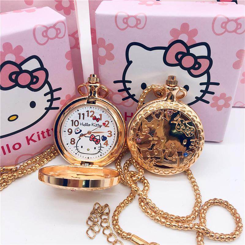 Hello Kitty Fashion Kids Watch Cartoon Cute Necklace Quartz Watches Girls Hollow Stainless Steel Diamond Gold Student Lovely Children Wristwatches Malaysia