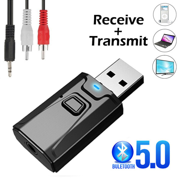 USB Bluetooth 5.0 Transmitter Receiver Mic 3 In 1 EDR Adapter Dongle 3.5mm AUX for TV PC Headphones Home Stereo Car HIFI Audio