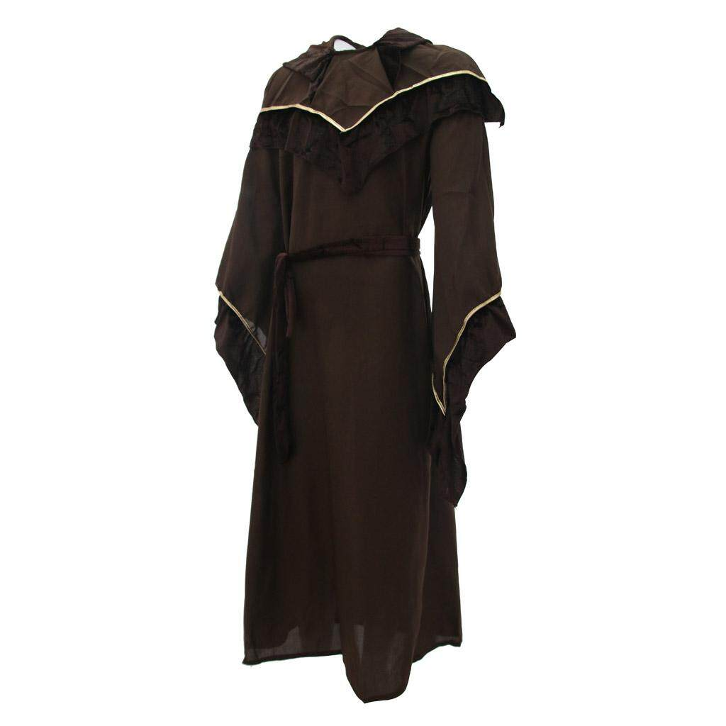 TOOYFUL Friar Priest Hooded Costume Adult Religious Godfather Wizard Robe Cosplay
