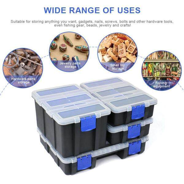 OutFlety Tool Box Organizer Tackle Storage,with Removable Compartments For Small Parts / Screw / Hardware Heavy Duty Hard Portable Box For Homes, Garages, Plastic