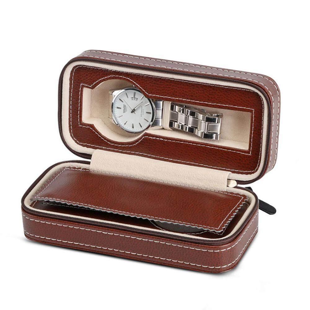 Lethen 2/8 Slots Watch Box,PU Leather Zipper Travel Watch Case Portable Watch Holder Storage Organizer Malaysia