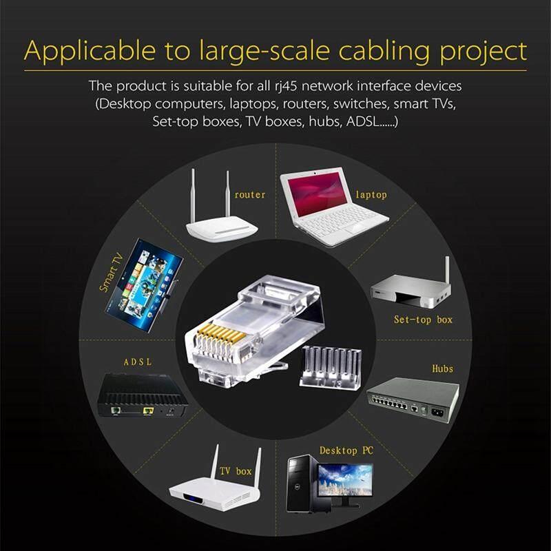 100Pc//Set  8-Pin RJ45 CAT6 Modular Plugs UTP Unshielded Version With Loading Bar