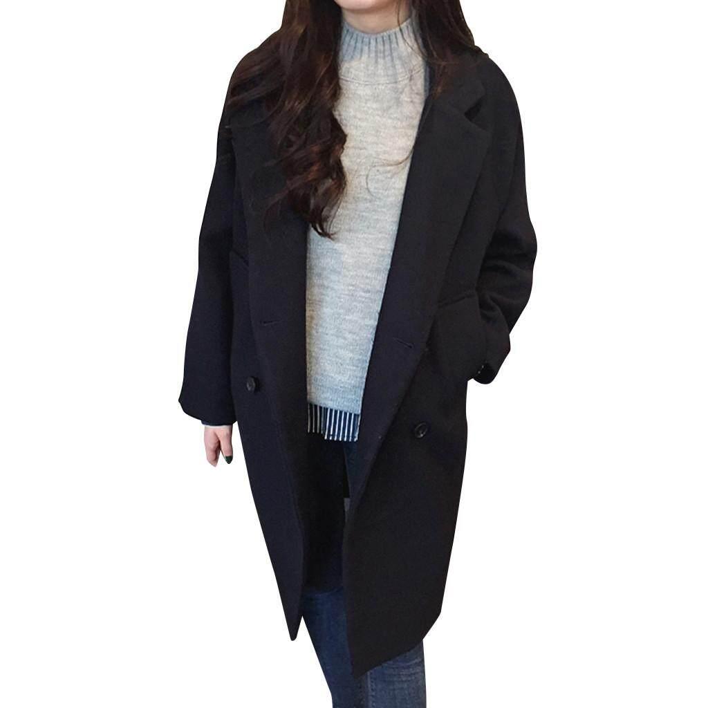 94811dde4a76 STIN Women Pockets Solid Double Breasted Winter Warm Long Sleeve Woolen Jacket  Coat