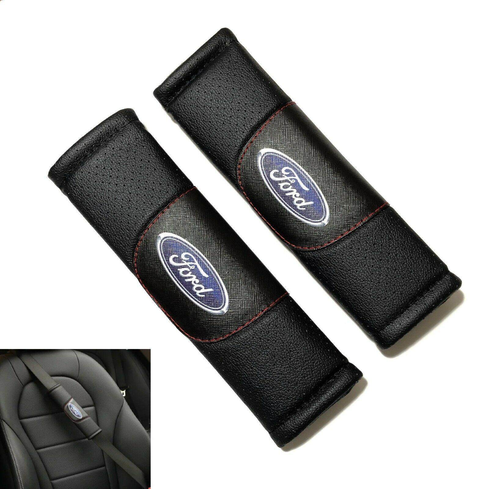 Car Seat Belt Pads Shoulder Cushion Cover Carbon Fiber for Mustang S-max Galaxy Touraeo Courier withSports Blue Font Version Stickers Pack of 2