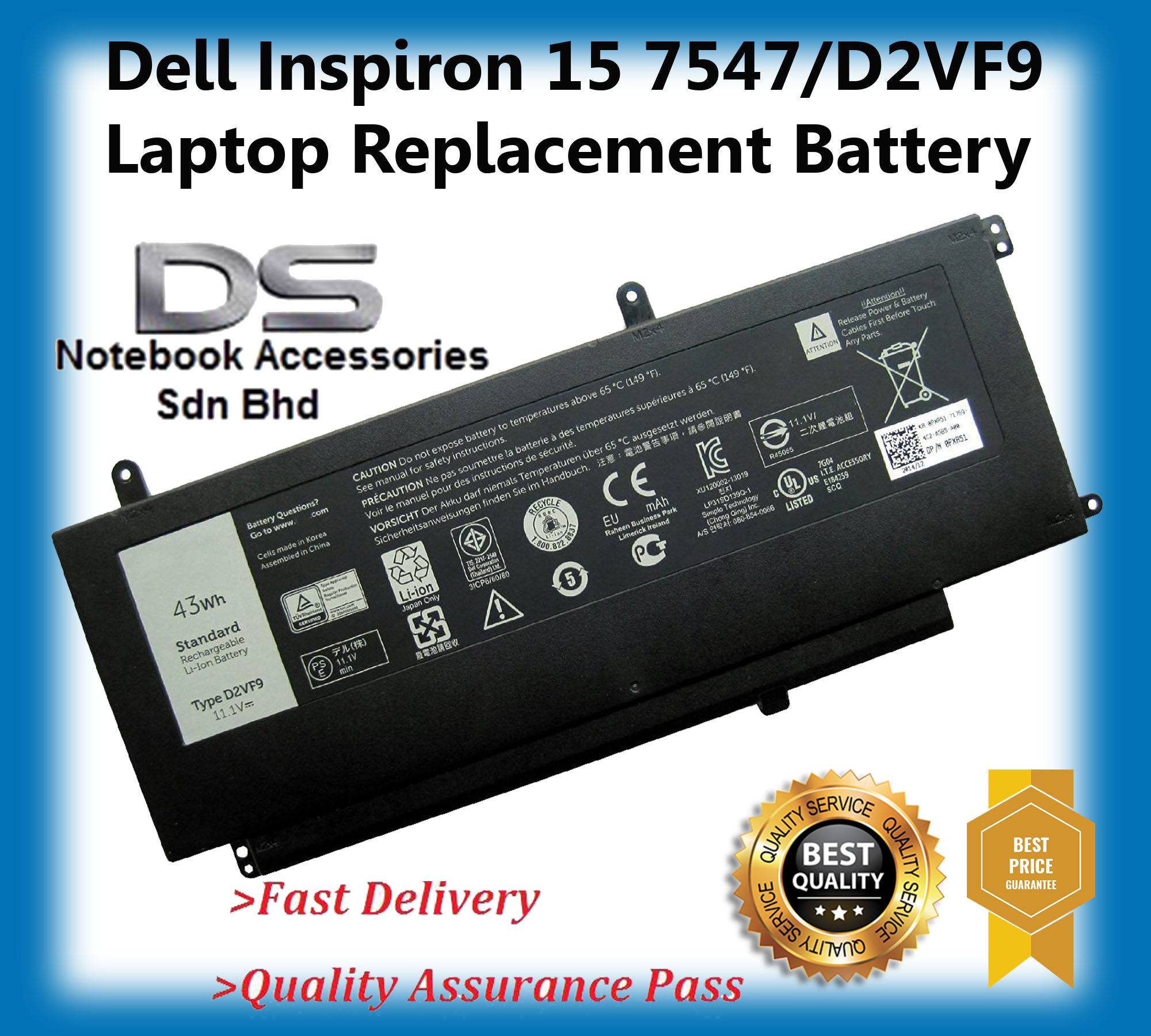 Dell D2VF9 0PXR51 0YGR2V14 5459 14-5459 Replacement Laptop Battery Malaysia
