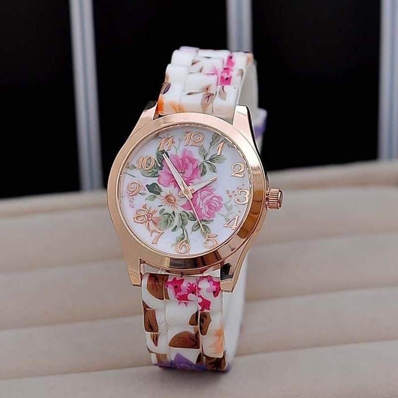 New Silicon Strap Watch Beautiful Flower Porcelain Design Wristwatch Women Students Girls Malaysia