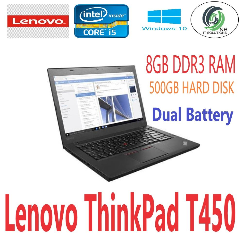 (Refurbished) Lenovo Thinkpad T450 (Intel Ci5 2.3GHz-5th Gen/ 8GB DDR3 RAM /500GB HDD/14Inch/Win10Pro Malaysia