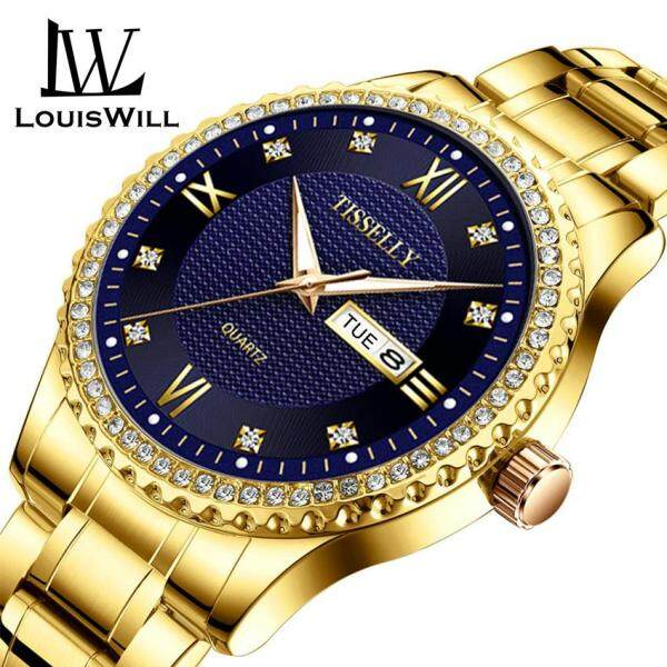 LouisWill Classic Men Diamond Watches Luxury Gold Business Watch Stainless Steel Quartz Wristwatches Luminous Waterproof Quartz Watch with Calendar Analog for Male Malaysia